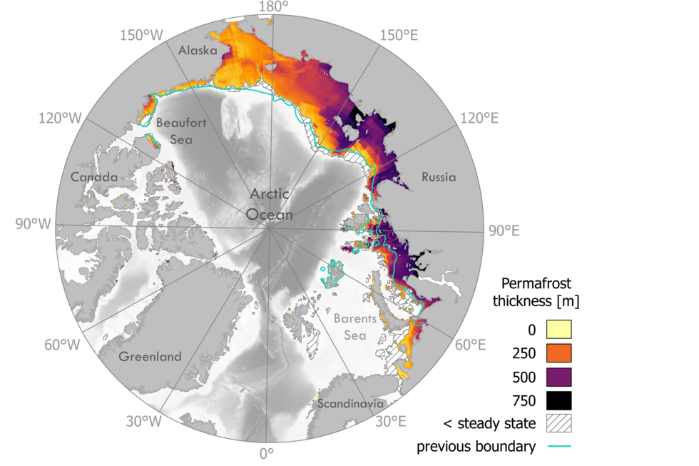 Modelled temperatures below the ocean floor allow us to estimate how thick the permafrost is around the Arctic Ocean. The light blue line shows the previously assumed distribution of potential submarine permafrost. The coloured region shows how deep the permafrost is beneath the sea floor.