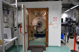 The NMR system in its chamber