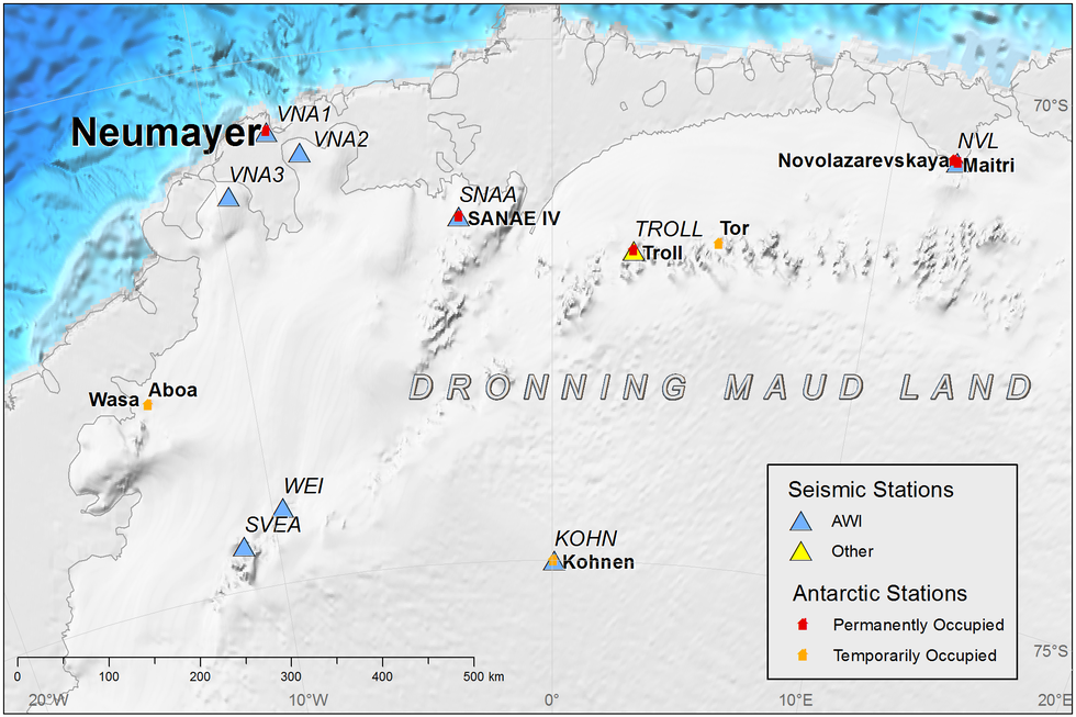 AWI seismometer stations in Antarctica