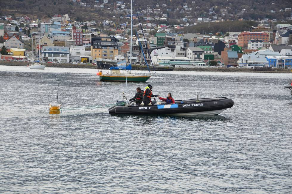 With a speed of 1-2 knots: the buoy is carefully towed into position.