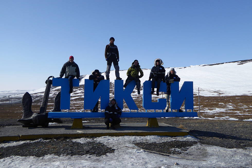 German participants on the way back, city of Tiksi
