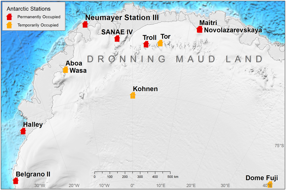 Position of Neumayer in Dronning Maud Land