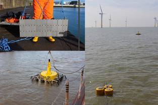 "Figure 1: Small steel panels (test bodies) are fixed on a ""mother-steel-plate"" for the study of biofouling communities and their succession over the year. The plates are mounted at the pier of a harbour basin in the isle of Helgoland. Figure 2: Spar buoy equipped with steel framework and test bodies during a test of its floatability in the harbour basin. Figure 3: Moorings of two buoys with test bodies for the study of biofouling communities in the Nordergründe area (Außenweser, Southern North Sea)"