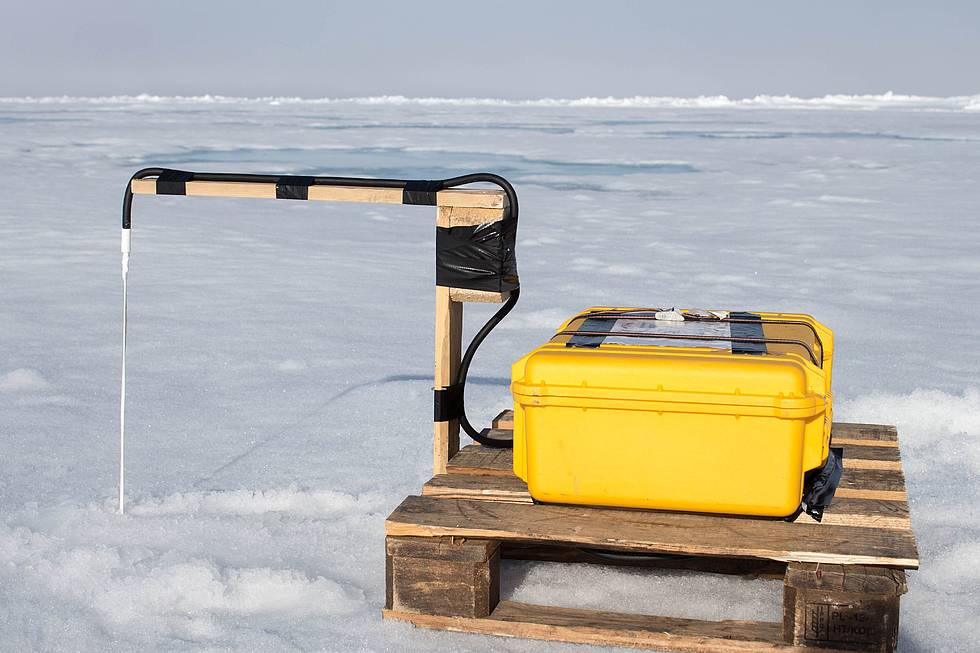 Close-up of a sea-ice buoy, installed on an Arctic ice floe by AWI sea-ice physicists. 