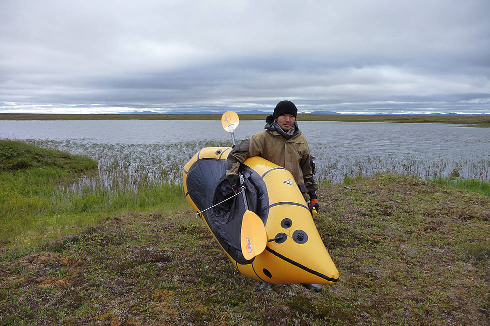 Ready to retrive and read-out thermokarst lake water data loggers on Sobo-Sise