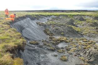 Eroding permafrost coast on the Siberian Bykovsky Peninsula