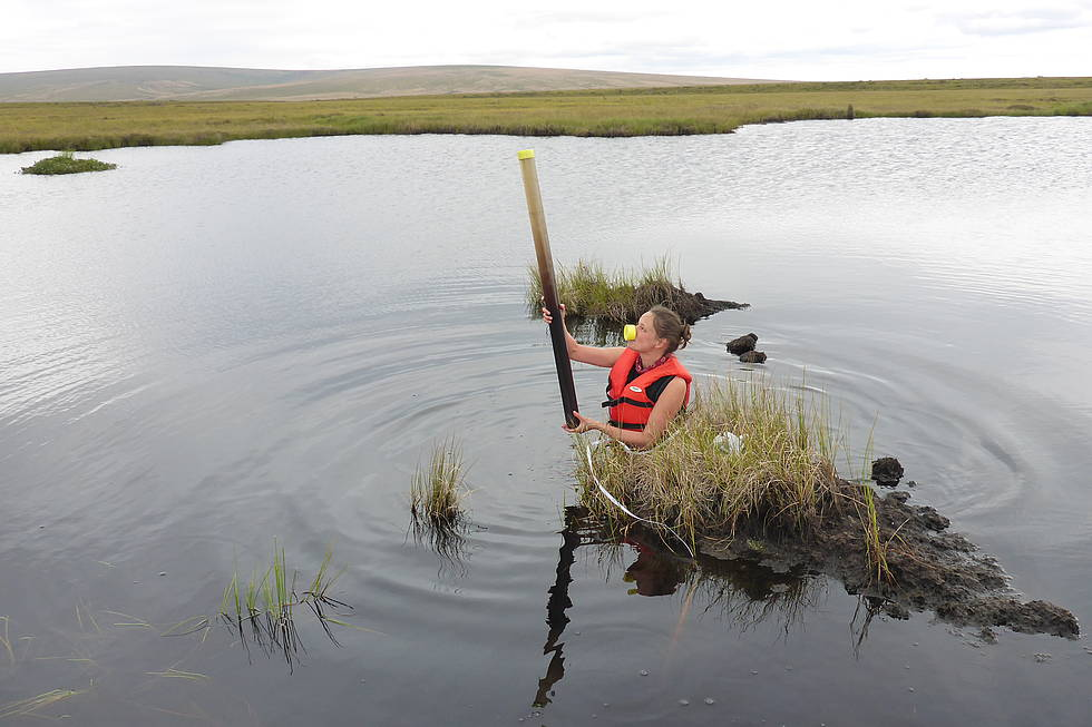 Unconventional and successful lake coring in waiders on the central Seward Peninsula