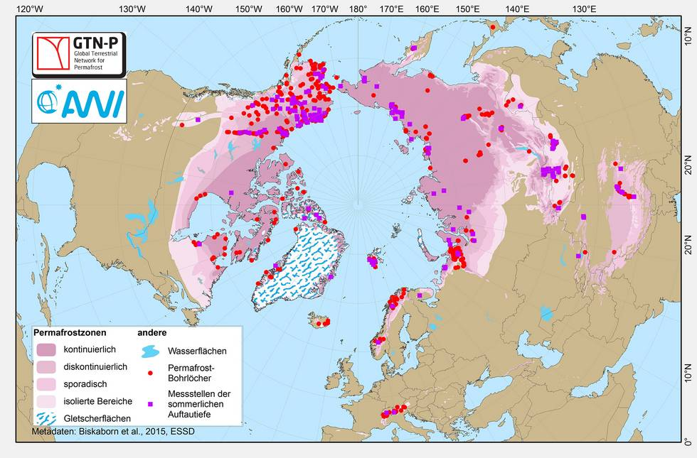 Map of the permafrost areas on the Northern hemisphere