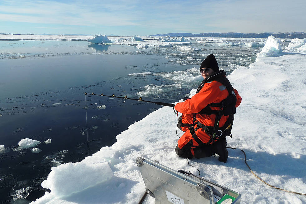 Fishing for data: From the edge of an ice floe AWI technician Carina Engicht deploys the new mini CTD sensor, which was developed by Géreon Budéus, to investigate important oceanographic parameters.