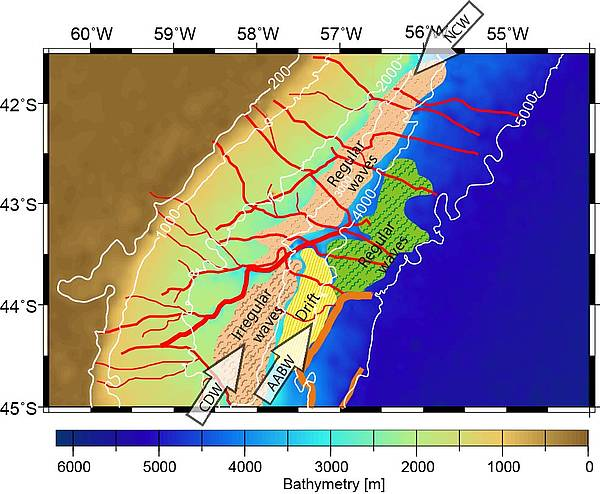 Bathymetric chart with location of mudwave fields and a contourite drift at the Argentine margin. Arrows indicate bottom water flow: AABW = Antarctic Bottom Water; CDW = Circumpolar Deep Water, NCW = Northern Component Water. Canyons are shown in red. Contouritic channels are shown in orange.