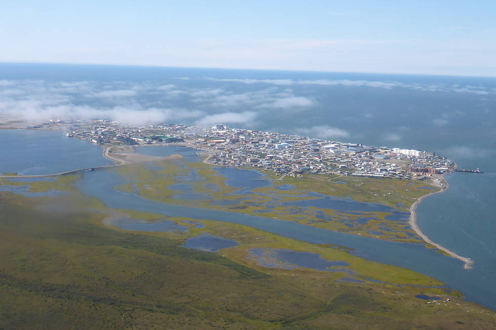 Aerial view of the city of Kotzebue, Arctic Alaska