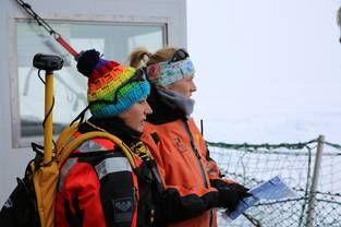 Julia Regnery und Amy Macfarelane looking to MOSAiC Floe before they start their exploring tour on the MOSAiC Fortress. This was at the first day during Leg 4 when we reached the floe.