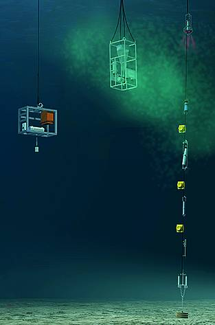 An anchor consisting of three stacked railway wheels keeps them safely moored to the ocean floor. The sensors for measuring temperature and flow speed are suspended at different depths between the buoys.