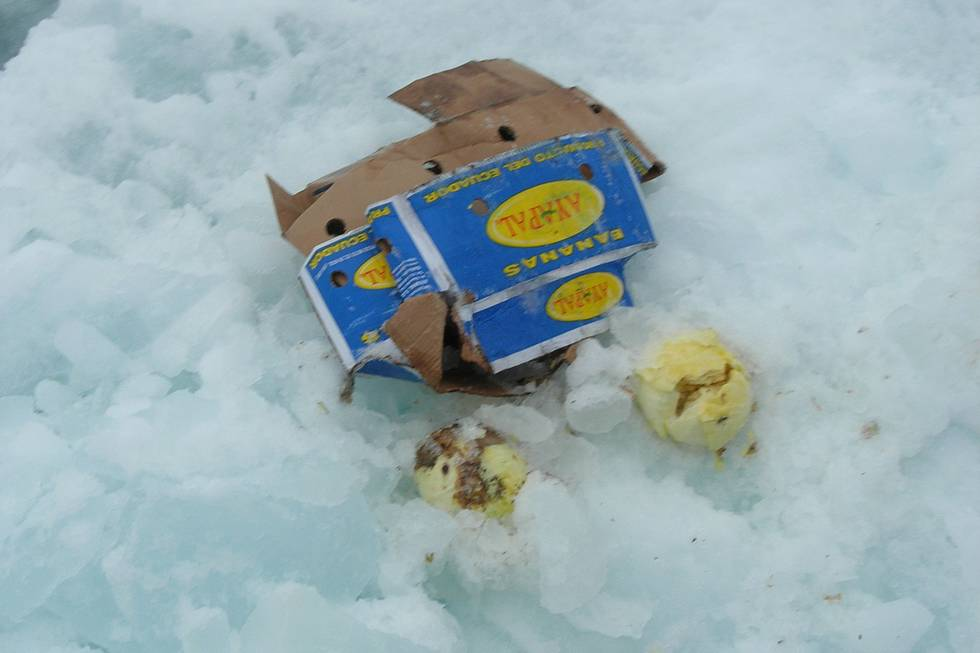 Litter on an Arctic ice floe.