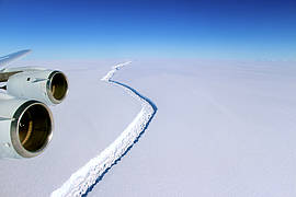 On Nov. 10, 2016, scientists on NASA's IceBridge mission photographed an oblique view of a massive rift in the Antarctic Peninsula's Larsen C ice shelf. Icebridge, an airborne survey of polar ice, completed an eighth consecutive Antarctic deployment on Nov. 18.