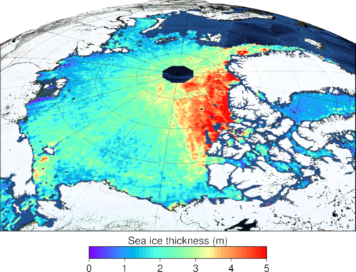 Map of Arctic sea ice thickness (April 2015) obtained from CryoSat-2 data