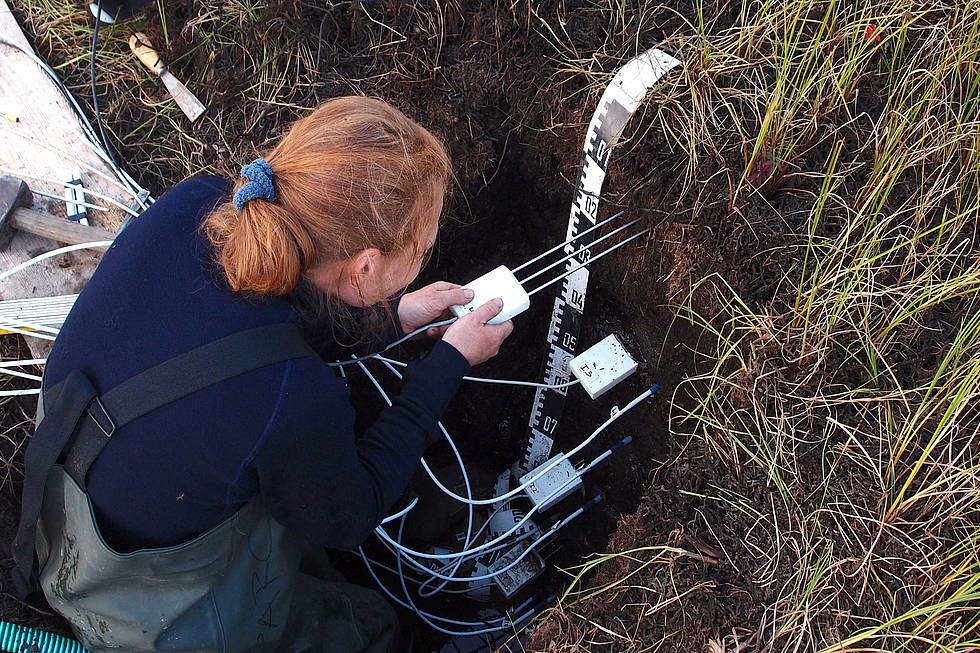 Julia Boike installs sensors in the permafrost in order to measure parameters such as temperature and moisture.