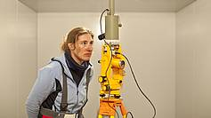 Member of the overwinterer-team (2011) geophysician Antje Schloemer measures the declination and inclination of the Earth's magnetic field with a theodolite in geophysical Oberservatorium.