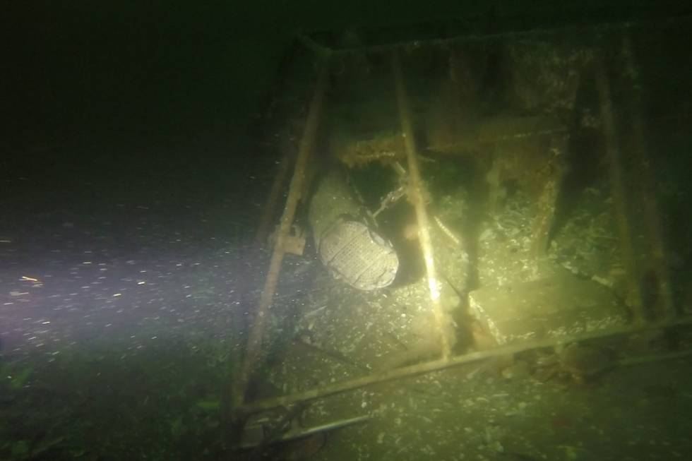 Oyster baskets in the oyster cage (water depth 26m).