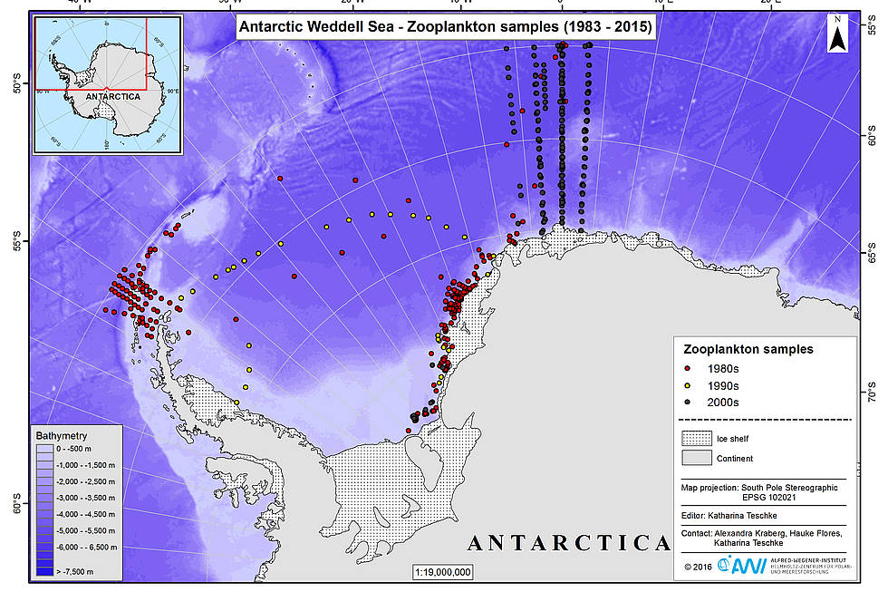 Summary of Polarstern stations in the Antarctic where zooplankton was sampled and analyzed