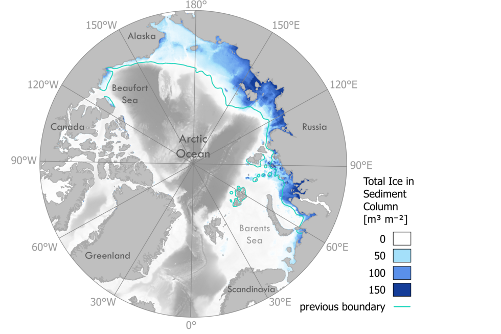 A view of the Arctic Ocean show the land and water depth. The model calculates how much ice remains in the sediment below the ocean floor.