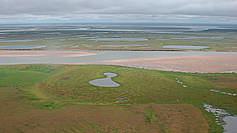 Drained thermokarst lake basin (alas) on Sobo-Sise, Lena River Delta