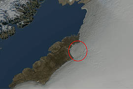 Close-up of the northwestern ice-sheet margin in Inglefield Land. The Hiawatha impact crater was discovered beneath the semi-circular ice margin. The structure is also imprinted on the shape of the ice surface, even though it lies nearly 1000 meters below the ice surface. Hiawatha is named after outlet glacier at the edge of the ice sheet. The name was given by Lauge Koch in 1922 during an expedition around northern Greenland, while thinking of the pre-colonial native American leader and co-founder of the Iroquois Confederacy.