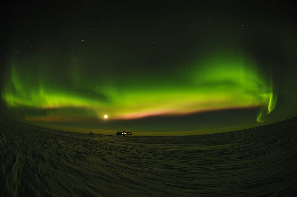 Aurora Borealis at the Neumayer Station III, image taken in the year 2010.