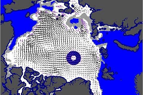 Sea ice motion vectors deduced from satellite-borne sensors (EUMETSAT Ocean and Sea Ice SAF: www.osisaf.org)