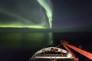 Northern lights above the central Arctic Ocean.
