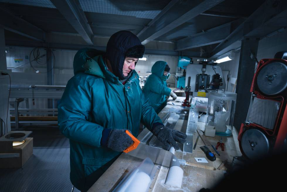 Each ice core is cut into various segments, which are used for targeted analyses.