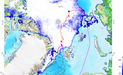 Sea Map Ice Extend Arctic with position MOSAiC floe and Polarstern.