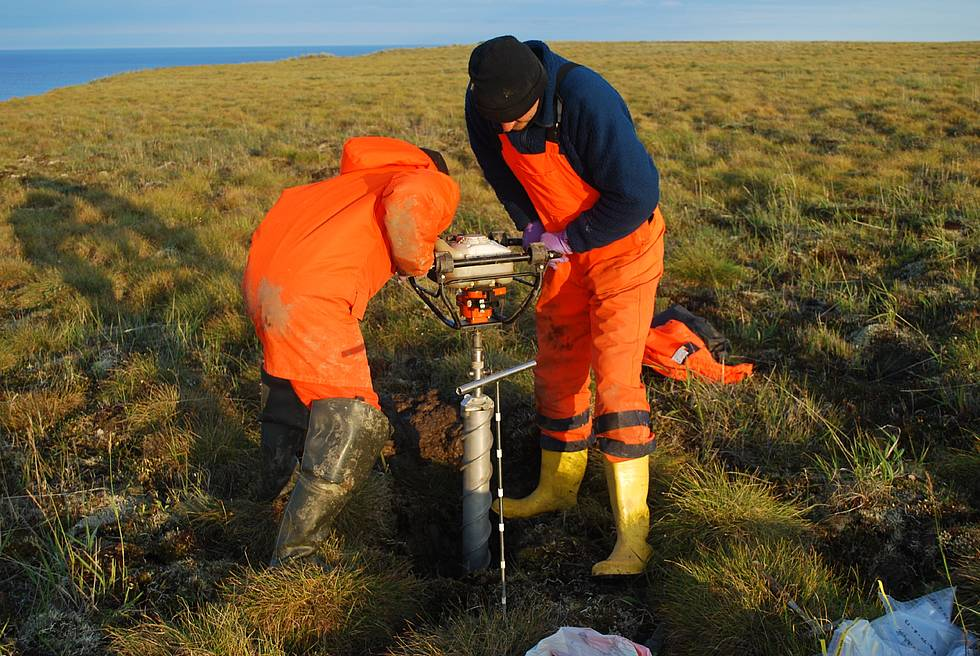 Soil sampling on the Bykovsky peninsula