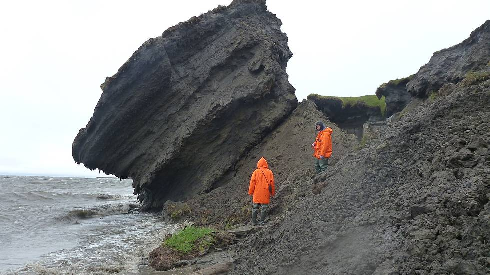 AWI permafrost scientists investigate the eroding coastline at the Siberian island Sobo-Sise, Eastern Lena delta.
