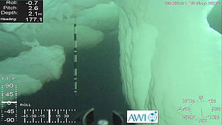 Caves, walls and grate made of ice: This image was made by a remotely operated vehicle (ROV) and shows the underside of heavily deformed Arctic sea ice. In the center one can see a orientation marker, colored back and white. It is one meter long.