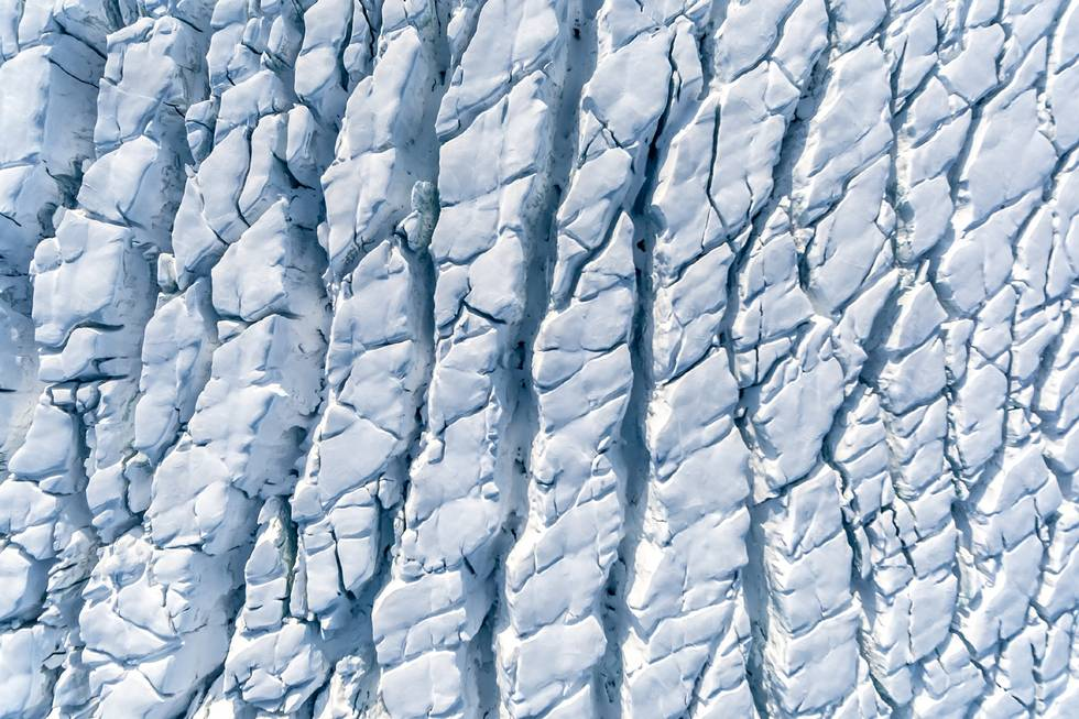 Arctic: Watch out for crevasses! The image shows the rugged surface of a glacier on the Norwegian island of Spitsbergen.