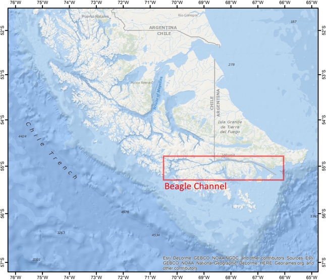 Where exactly is the Beagle Channel? In the southernmost part of South America! (Map done with ESRI)