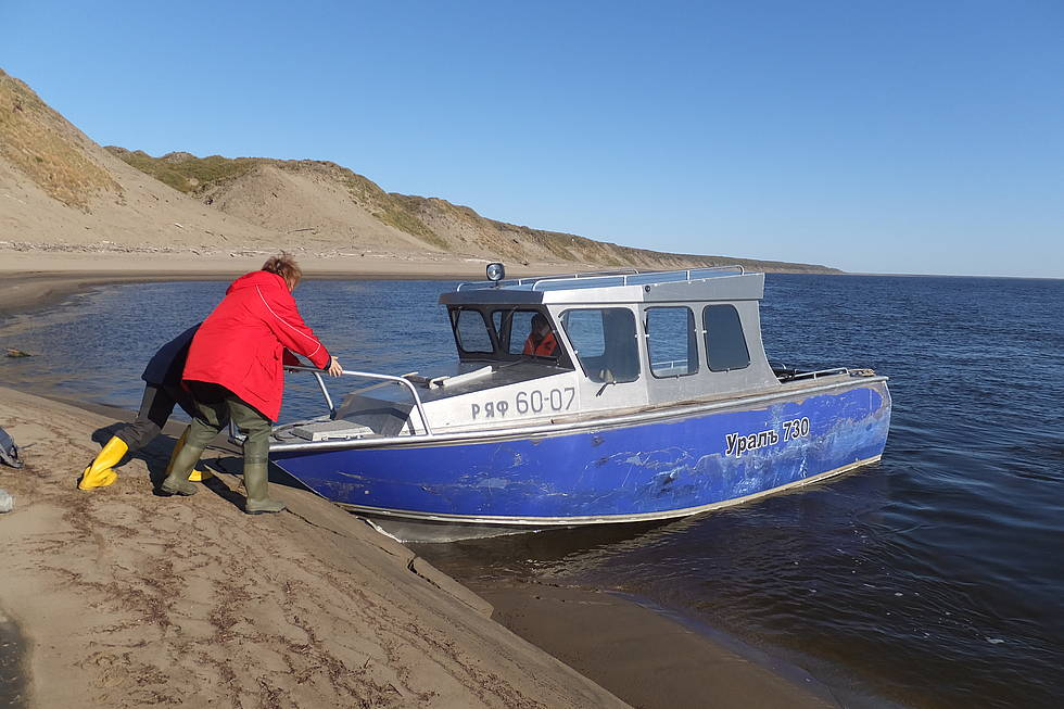 The research station boat Ural. It is being pushed off the beach on Kurungnakh again.