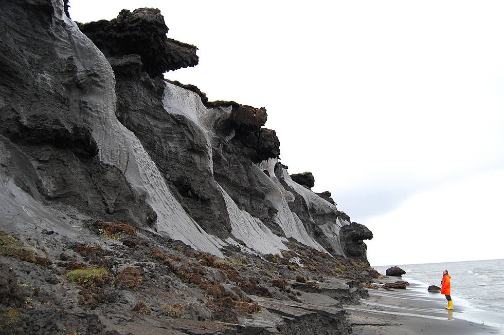 Ice wedges along the coast of Muostakh