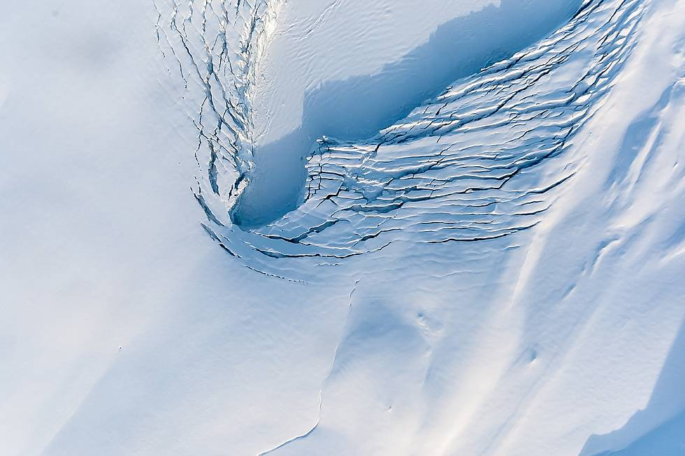 Arctic: View onto a glacier's calving front on the Norwegian island of Spitsbergen. The picture resulted from a sea ice measurement campaign in Spring 2014.