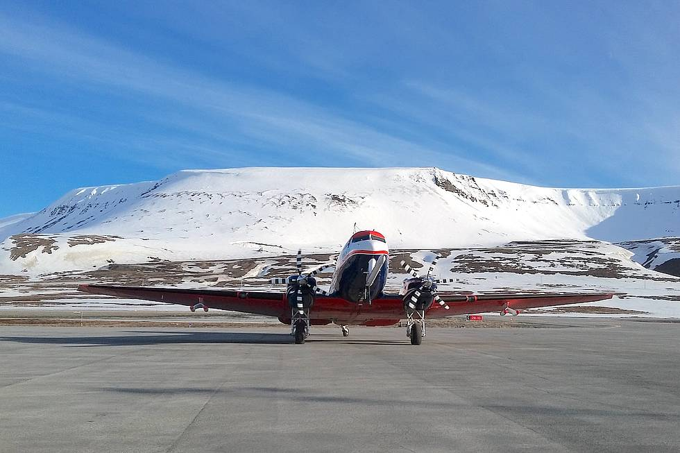 Polar 6 after touch-down in Longyearbyen, Svalbard.