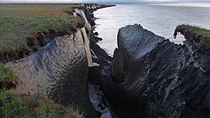 Permafrost thaw at the cliff edge