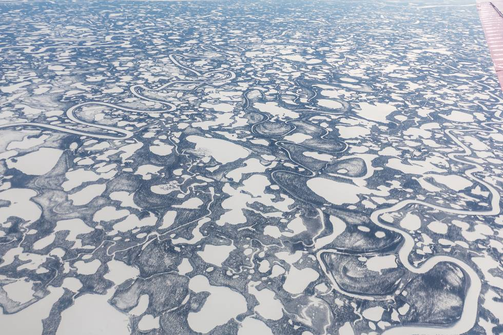 Fascinating frozen pattern of side channels, lakes and sand banks near the Mackenzie River. This photo was taken during the NETCARE spring campaign in 2015.
