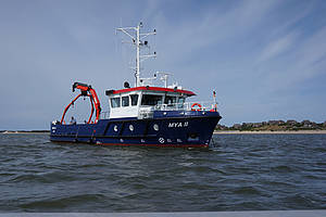 The new AWI research vessel Mya III during one of its first cruises in the Wadden Sea.